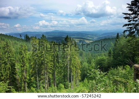 Landscape Beskydy Mountains on the border of Czech Republic and Slovakia with the peaks in the background