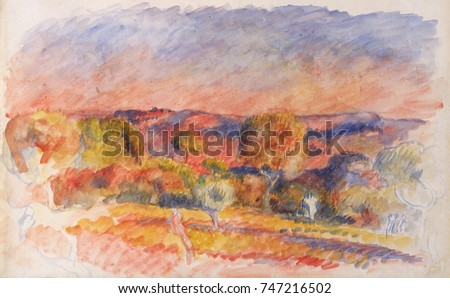 Landscape, by Auguste Renoir, 1889, French impressionist watercolor painting on paper. This Aix-en-Provence scene was painted when Renoir rented a summer house near his friend Cezanne