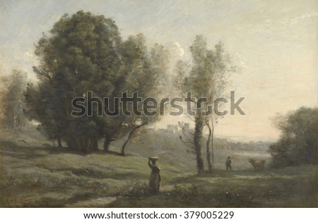 Landscape, by Camille Corot, c. 1872, French painting, oil on canvas. Scene in Les Landes, south of Bordeaux, France. Peasant walks in foreground toward a distant city. Photo stock ©