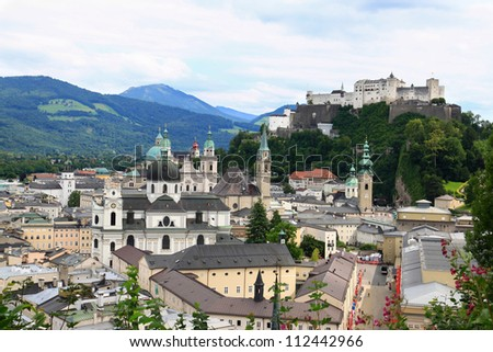 Landscape city view of Festung Hohensalzburg Castle, High Salzburg Fortress, on the mountain. One of beautiful tourist attractions and the largest medieval castles in Salzburg, Austria, Europe