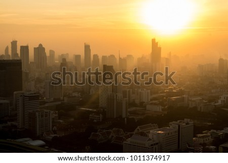 Landscape city view with sun shining background, Sun shining beam above the city view