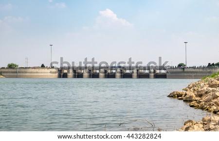 Landscape dam of Pa Sak Jolasid Dam ,Lopburi,Thailand #443282824