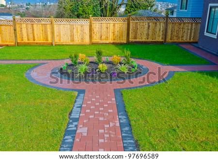 Landscape design. Flower Bed in a Formal Garden