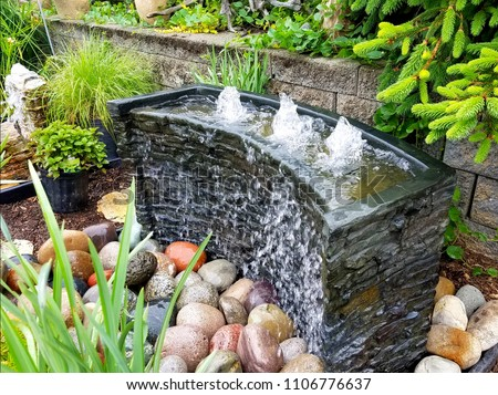 Landscape Design Ideas with Bubbling Water Feature