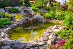 Landscape design in home garden, beautiful landscaping with small pond and waterfall. Landscaped place with stones and water at country house. Nice pond and fountain in backyard or yard in summer.