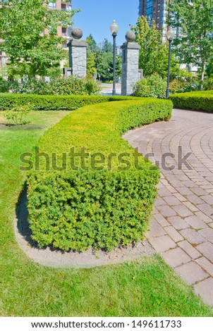 Landscape design. Nicely trimmed bushes and paved pedestrian sidewalk in the park. Vancouver. Canada. Vertical.