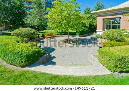 Landscape design. Nicely trimmed bushes in the park. Vancouver. Canada.