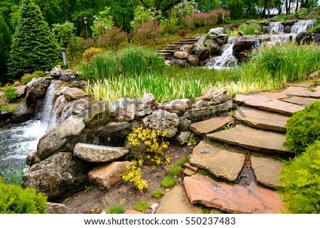 Landscape design. Stone stairs