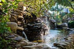 Landscape design. Water cascade