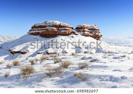 Landscape during winter in Big Horn national park, Montana. USA #698982697