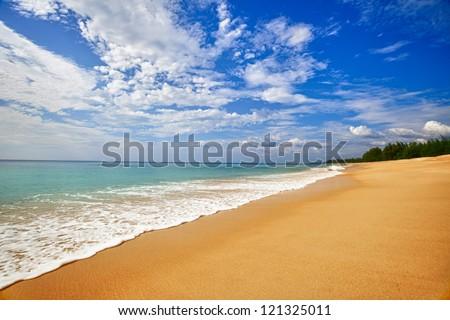 Landscape - exotic sand sea beach. Thailand, nobody.
