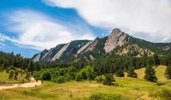 Landscape featuring the Flatirons, Boulder, Colorado in summer