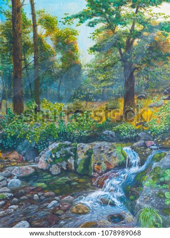 Landscape forest with a river stream, painting art