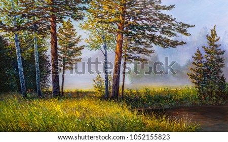 Landscape, forest with pine and fir trees, Stones and green grass on the shore of a  river . Oil painting .