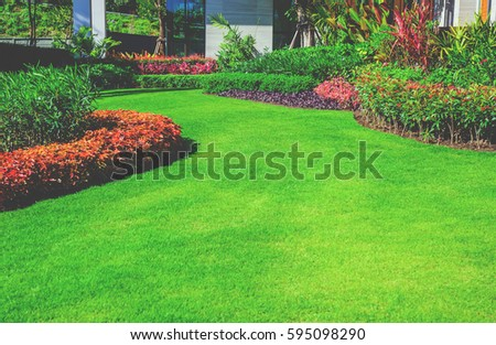 Landscape formal, front yard is beautifully designed garden. Vintage style