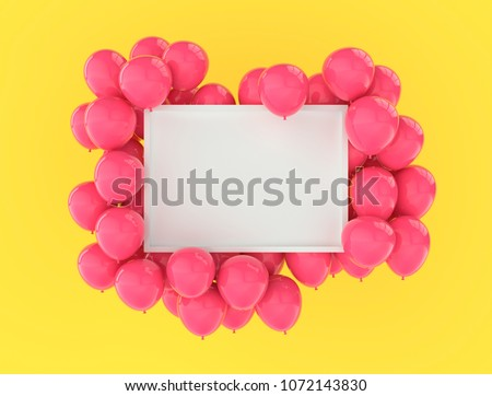 Landscape frame poster mock up with pink balloons on bright yellow wall background. 3D rendering. Festive colourful design