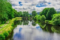 Landscape France Brittany Canal de Nantes to Brest near Saint-Thois