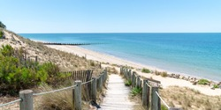 landscape from Atlantic coast from Noirmoutier French island in web banner template
