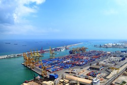 Landscape from bird view of industrial port. Barcelona
