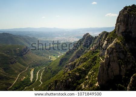 Landscape from Montserrat in Barcelona Spain #1071849500