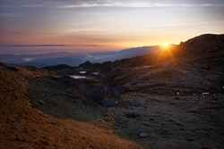 Landscape from Rila and Pirin mountains in Bulgaria during sunset or sunrise. Beautiful view during last or first sun rays.
