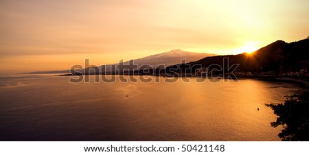 Landscape from Taormina: you can see the mount Etna beyond the Giardini Naxos Bay