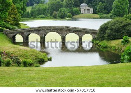 Landscape Garden with Bridge and Lake