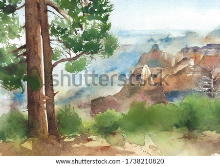 Landscape Grand canyon American nature mountain forest watercolor painting illustration isolated on white background