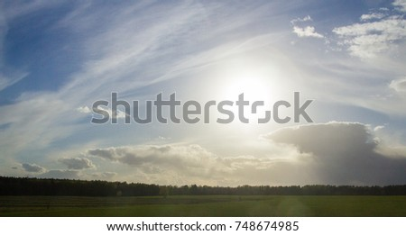 Landscape grassy meadows with dry trees blue sky and clouds in early spring #748674985