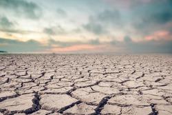 Landscape ground cracks drought crisis environment.
