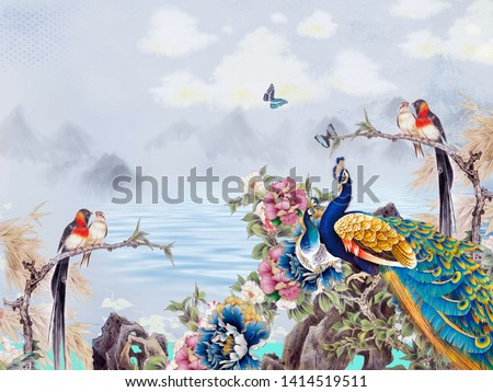 Landscape illustration, gray sky and hills, white clouds, a lake, colorful fabulous flowers on the shore, two peacocks, two pairs of birds sitting on the branches