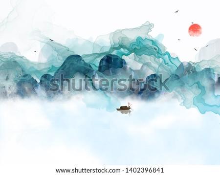 Landscape illustration, mountains, fog, sunset, flying birds, fisherman on a boat