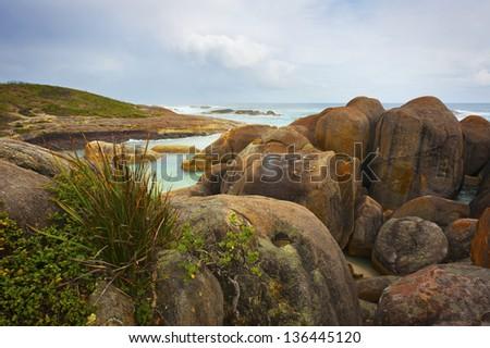 Landscape image of a very rocky coastline.