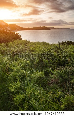 Stock Photo Landscape image of Sunrise over Mupe Bay on Jurassic Coast in England