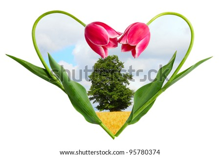 Landscape in a frame from two flowers making the form of heart