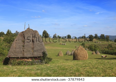 """Landscape in an isolated mountainous rural area in Apuseni Mountains, in Transylvania,Romania. The place is known as """"Motilor country"""". The house is made exclusively by wood with any pieces of iron."""
