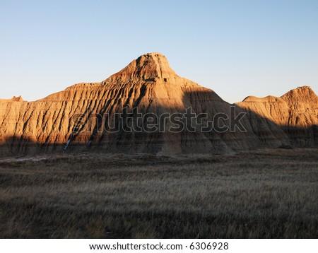 Landscape in Badlands National Park, South Dakota.