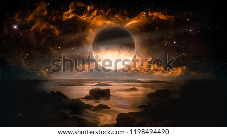 Photo of  Landscape in fantasy alien planet with flaming moon and galaxy background. Elements of this image furnished by NASA