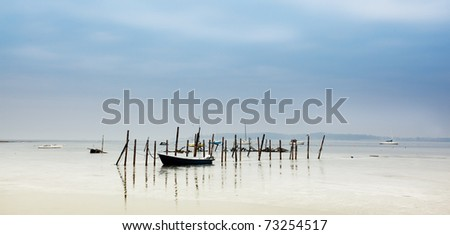 Landscape in harbor of denmark with boats