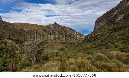 Photo of  Landscape in Los Nevados National Natural Park in Colombia. Nevado de Santa Isabel and Nevado del Ruiz volcano