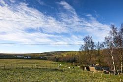Landscape in Nidderdale looking west from moorland smallholding
