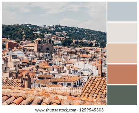 Landscape in pastel colours. Harmonious color swatch.