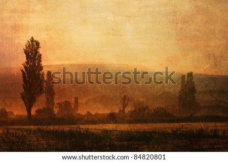 landscape in southern france with grunge texture
