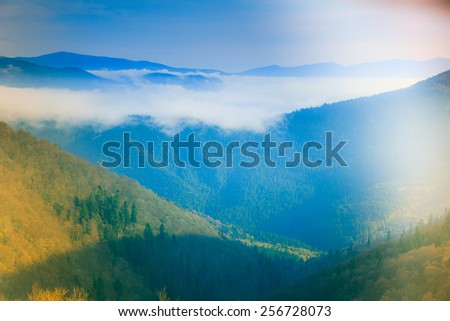 Landscape in the mountain:hazy tops and green valleys. Filtered image:cross processed lighting leak - instagram.