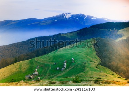 Landscape in the mountain:snowy tops and green valleys. Filtered image:cross processed lighting leak - instagram.