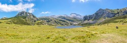 Landscape in the mountains of the National Park with the name Picos de Europa (in Spanish Parque Nacional de los Picos de Europa or Picos d'Europa) mountain lake called Lago de Enol Northern Spain Ast