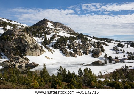 Landscape in the Pyrenees, under the summit of Pic du Carlit, France