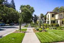 Landscape in the Rose Garden residential neighborhood of San Jose, south San Francisco bay area, California