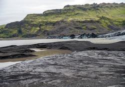 Landscape in the vicinity of Svinafellsjokull glacier, part of Vatnajokull glacier. Skaftafell National Park on Iceland
