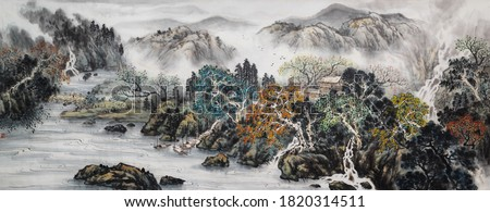 Landscape ink and wash painting.Asian traditional culture.